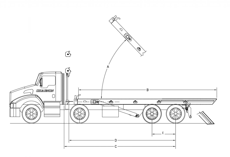 DRC-OR serie 60000 lb - longerons extérieurs avec rouleaux - queue fixe